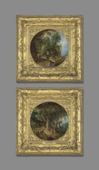 A rocky landscape with the Rest on the Flight into Egypt; and A wooded landscape with the Temptation of Christ