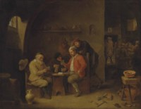 Card players and other figures drinking at a table, in a barn