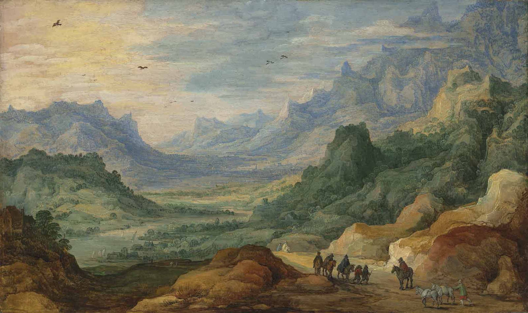 A mountainous landscape with travellers and herdsmen on a path