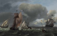A wijdschip, a smalschip and a state yacht tacking, with fishermen in a pink drawing in their nets in the foreground, the man-o'-war 'Bruinvisch' lowering sails beyond