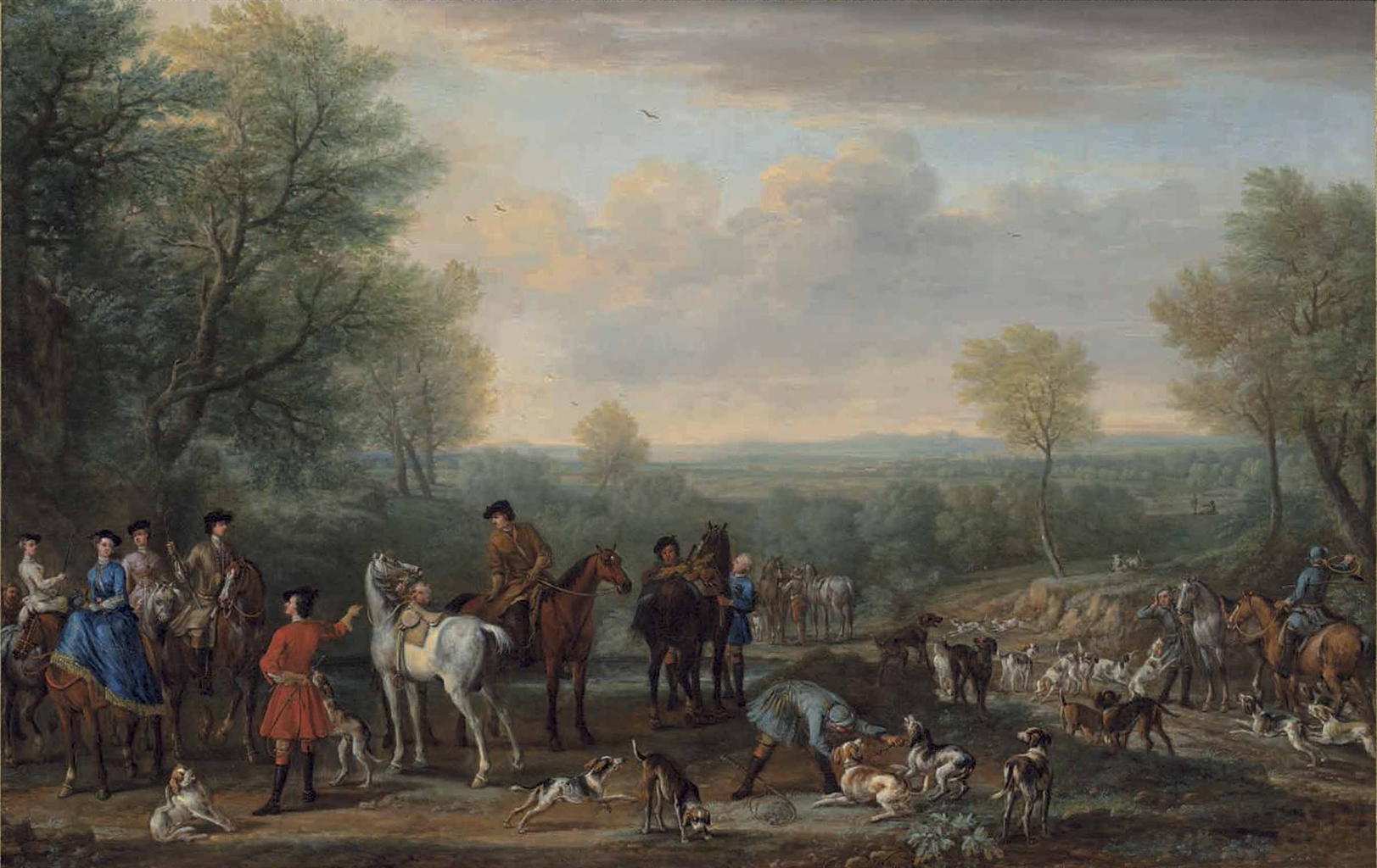 The Meet: A hunting party, with figures, horses and hounds, in an extensive wooded landscape