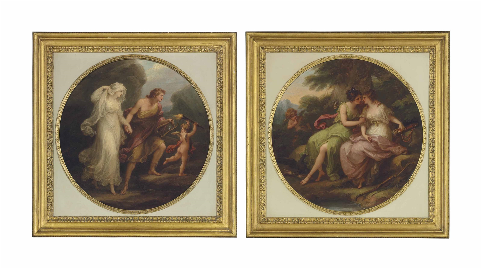 Orpheus and Eurydice; and Jupiter, in the guise of Diana, and Callisto