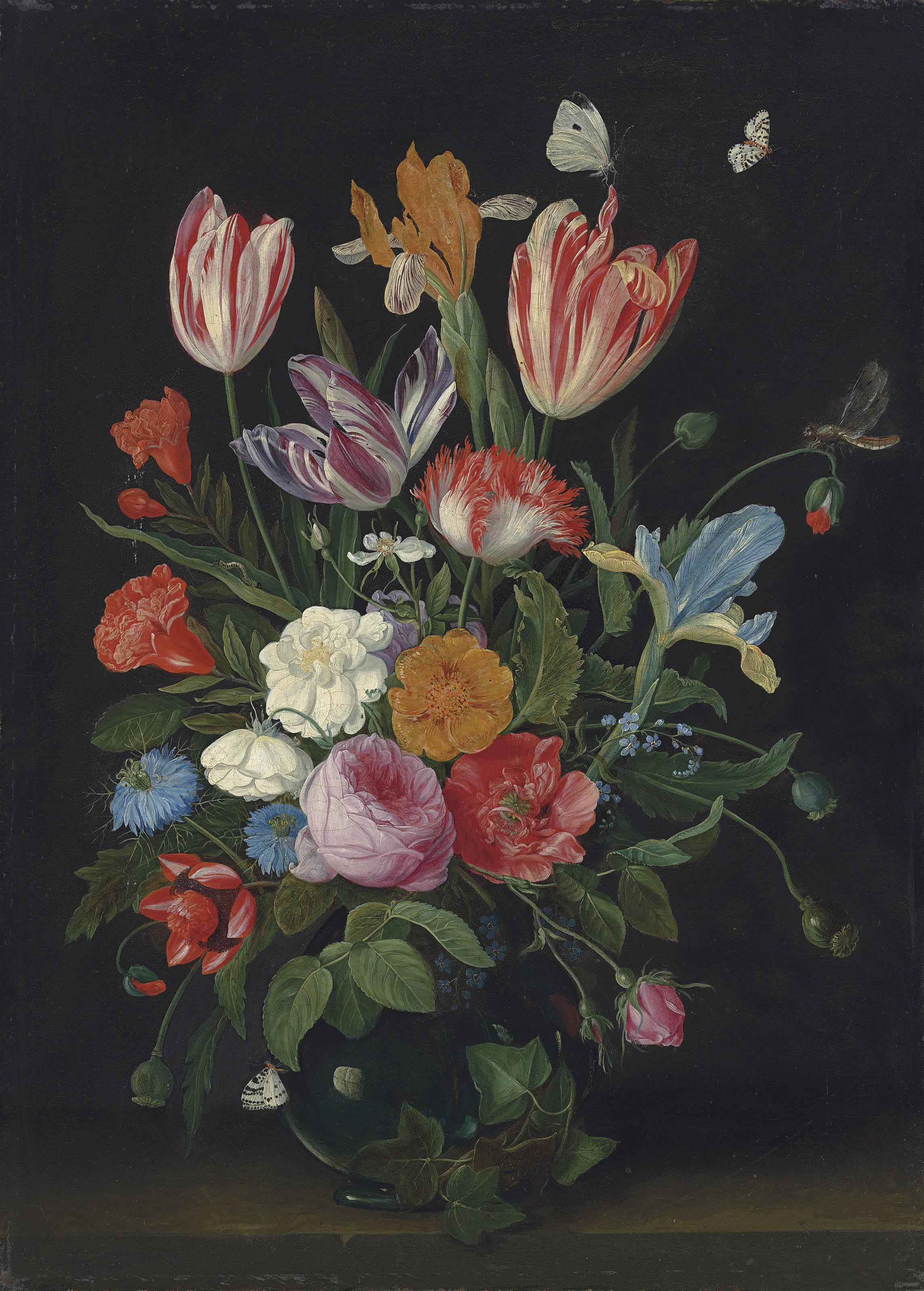 Jan Van Kessel I Antwerp 1626 1679 Parrot Tulips Irises Roses And Other Flowers In A Glass