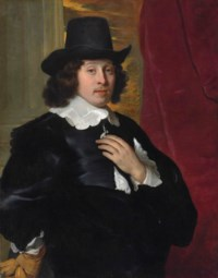 Portrait of a gentleman, half-length, in a black coat with a white collar and cuffs, wearing a black hat, a glove in his right hand, before a column and a red curtain