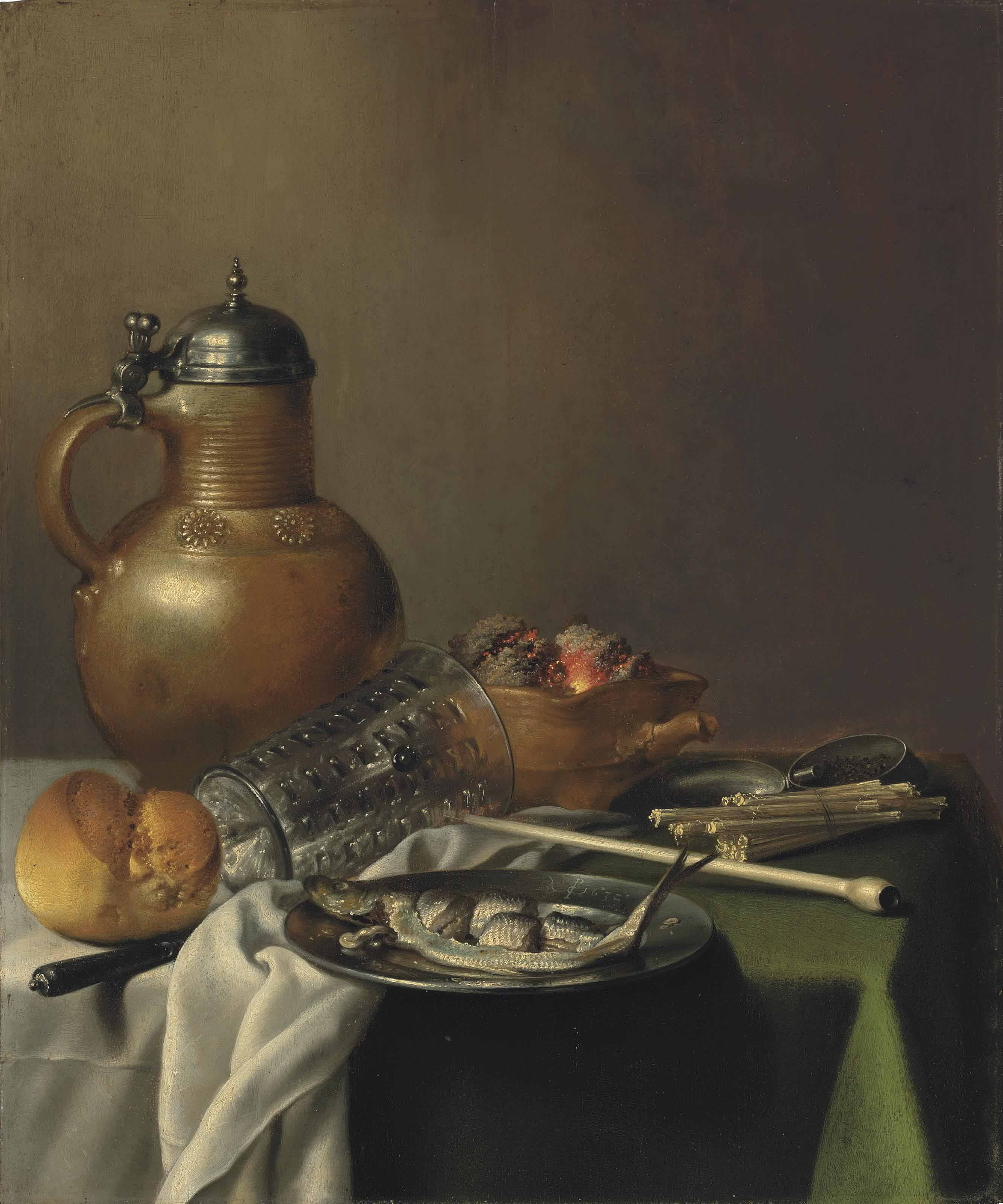 A herring on a pewter platter, with a roll of bread, a knife, an upturned glass, a stoneware and pewter jug, a red earthenware brazier, a white clay pipe, a bundle of matches and a pewter tobacco tin, on a partially draped table