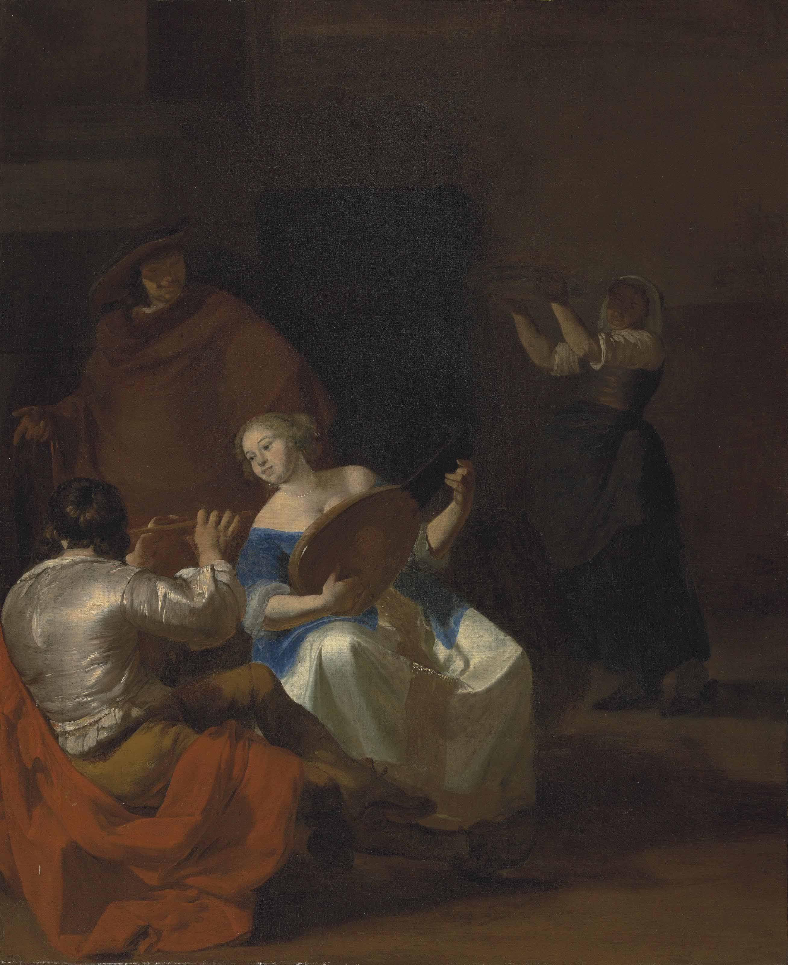 An interior with an elegant woman playing a lute and a man playing a flute, a maid by the fireplace beyond