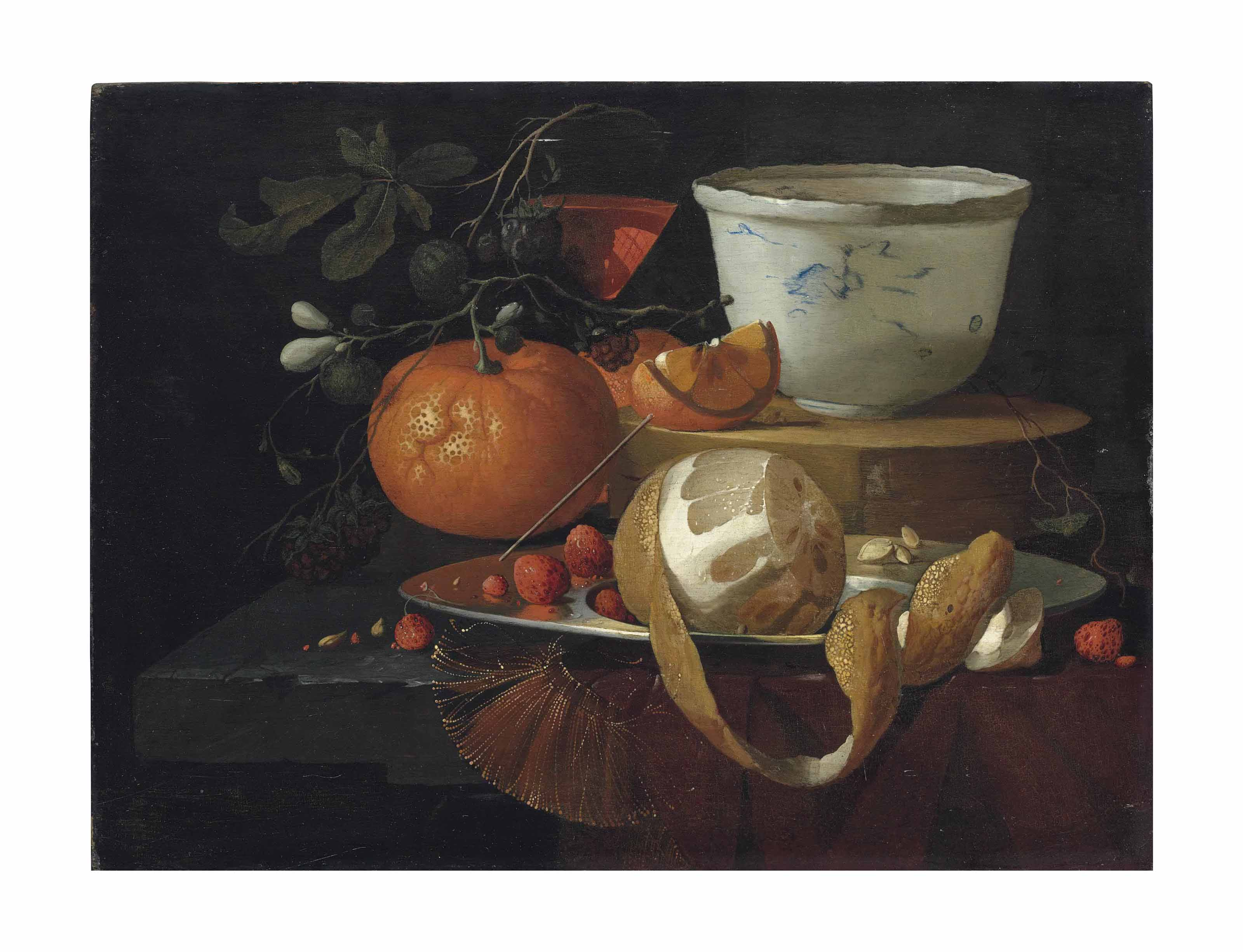 A partially peeled orange, strawberries and other fruit with a wine glass and Wan-li bowl on a partially draped stone ledge