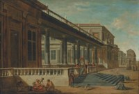 A capriccio of a palace terrace with a family of mendicants in the foreground, a pasha and his retinue beyond