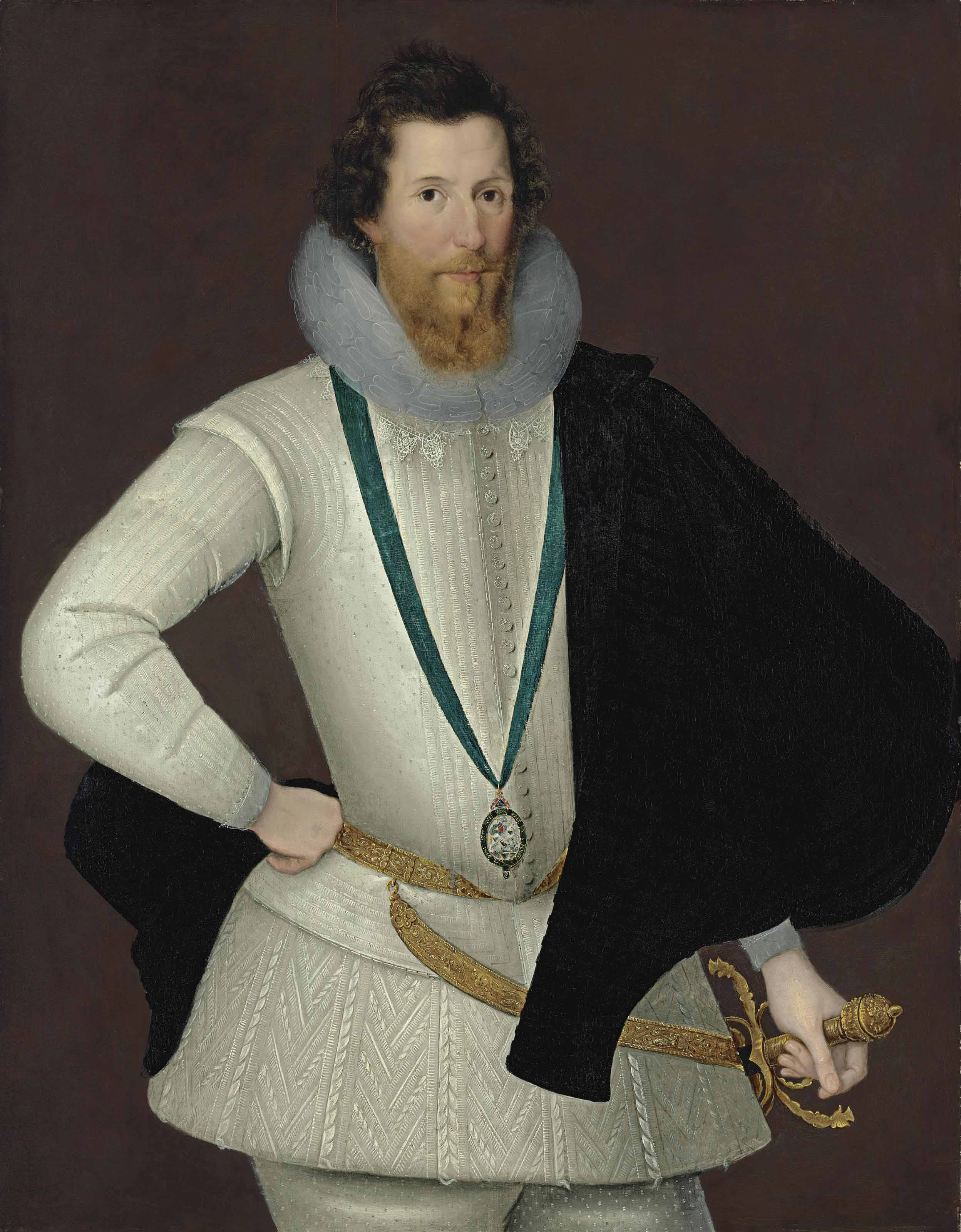 Portrait of Robert Devereux, 2nd Earl of Essex (1565-1601), three-quarter-length, in a white doublet and hose with a black cape, wearing the Order of the Garter