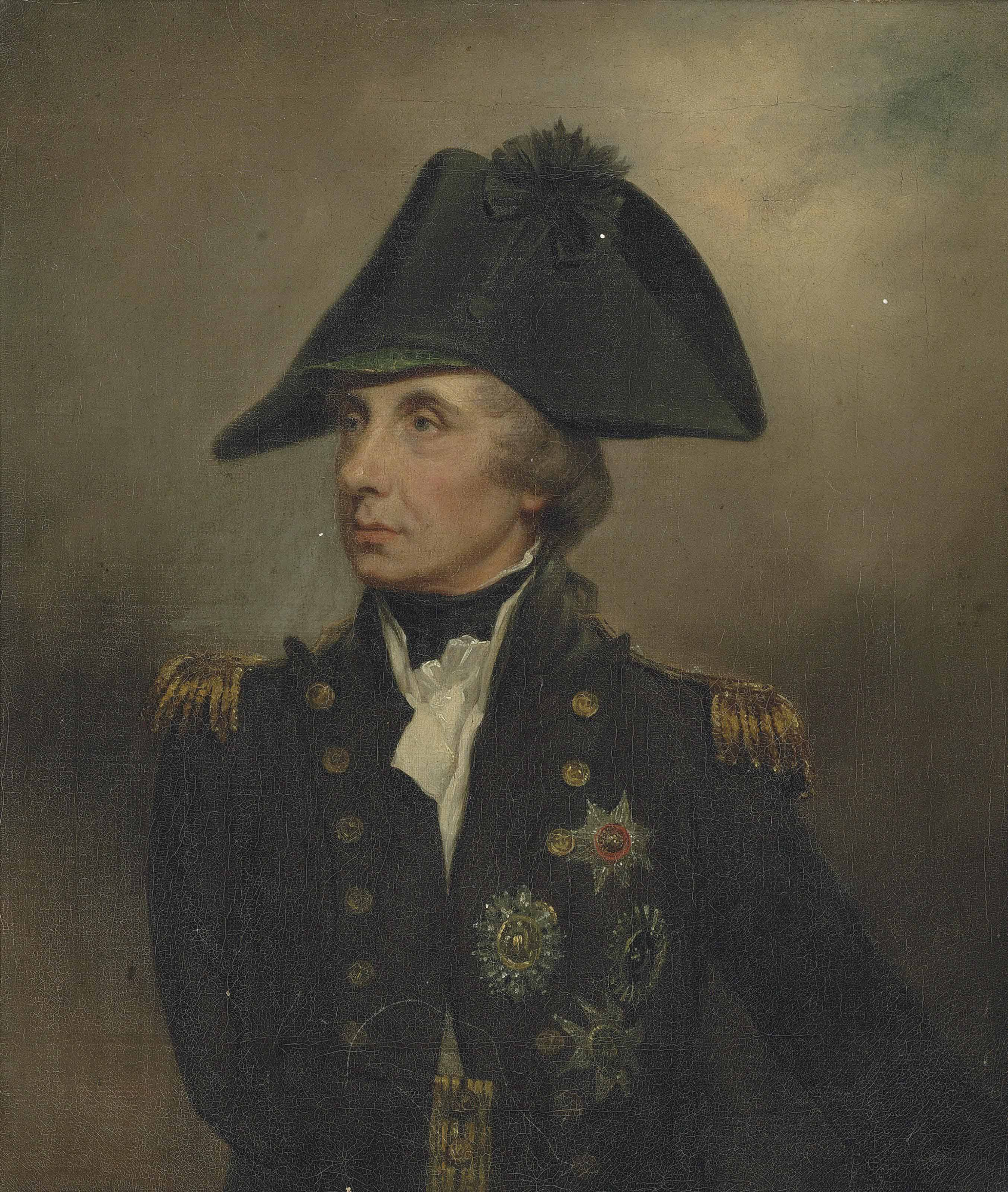 Portrait of Horatio, Viscount Nelson, K.B., Vice-Admiral of the White (1758–1805), half-length, in Vice-Admiral's undress uniform, cocked hat with black silk cockade and green eyeshade, with the stars of the Bath, the St. Ferdinand and the Crescent