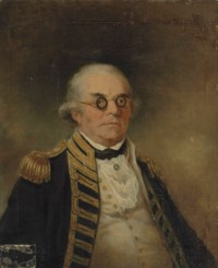 Portrait of Admiral Peter Rainier (1741-1808), bust-length, in naval uniform and wearing a blue and white cameo and circular spectacles