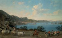 The Port of Salerno from Vietri, with herdsmen and other figures in the foreground, with the Castello di Arechi beyond and shipping vessels in the bay