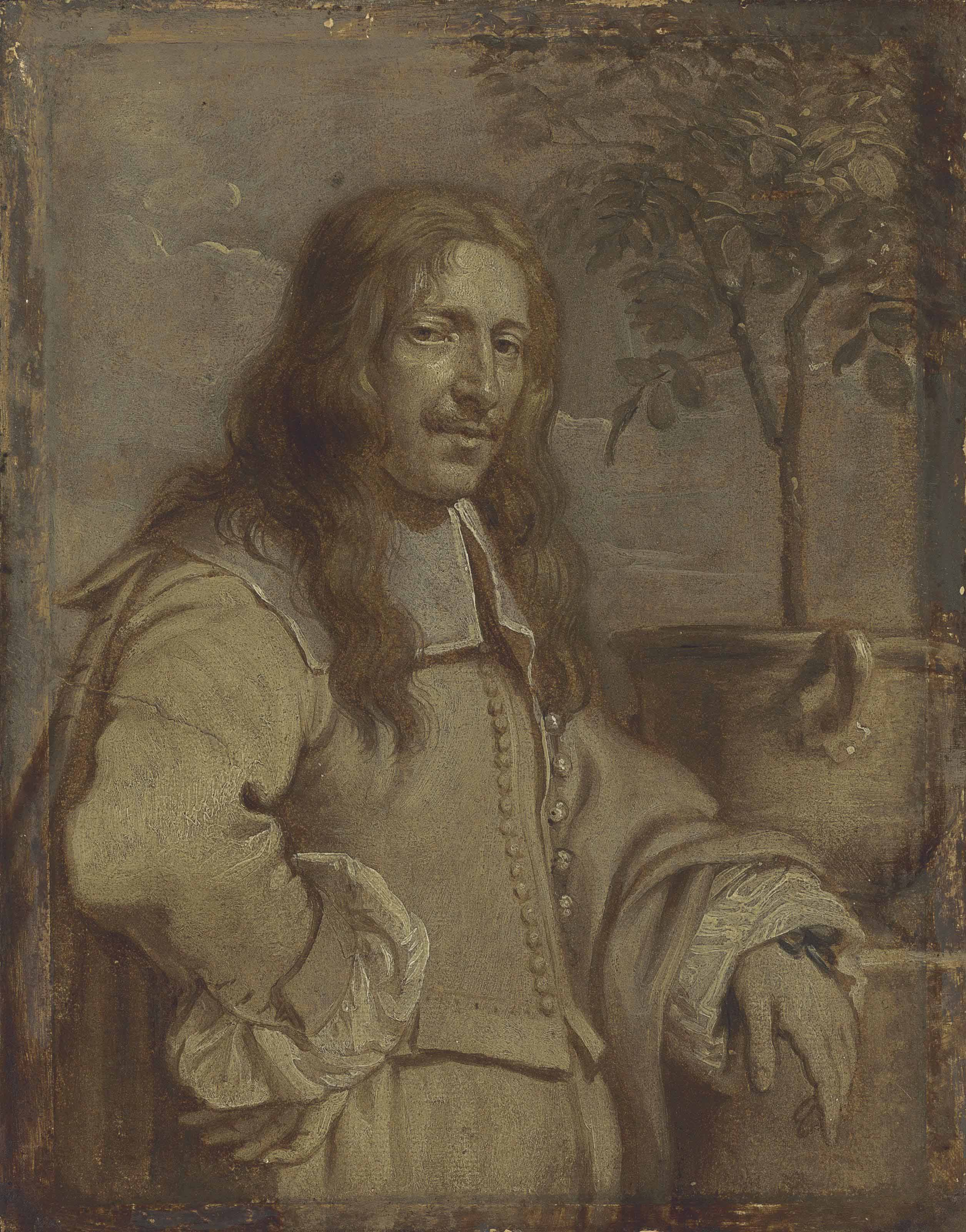 Portrait of Jan Philips van Thielen (1618-1667), half-length, in a landscape, his left arm resting on a pedestal- en grisaille