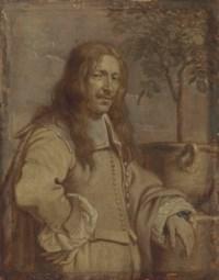 Portrait of Jan Philips van Thielen (1618-1667), half-length, in a landscape, his left arm resting on a pedestal- en grisaille