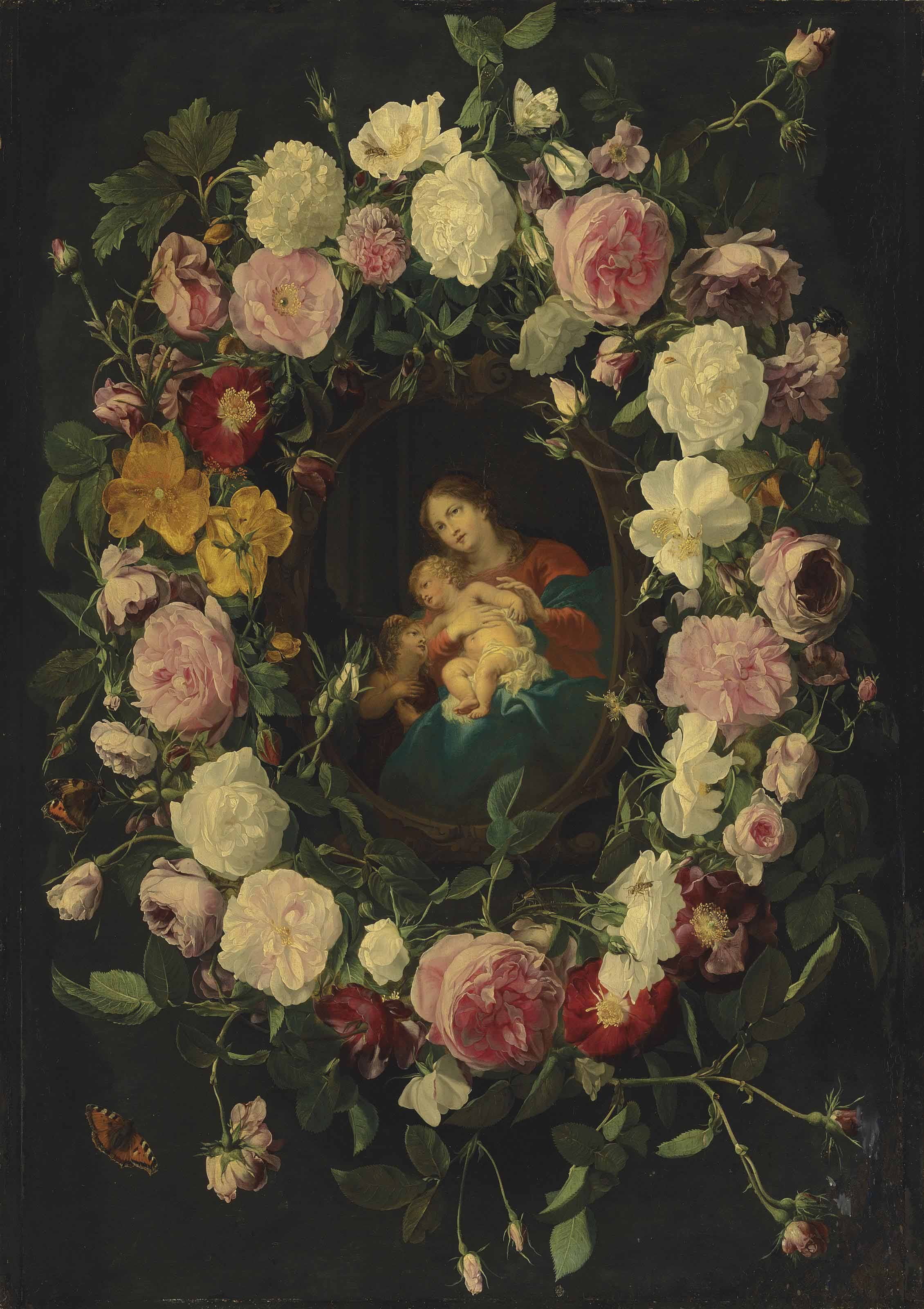 A garland of roses, with Red Admirals, wasps, ladybirds and other insects, with the Virgin and Child with the Infant Saint John the Baptist in a sculpted cartouche