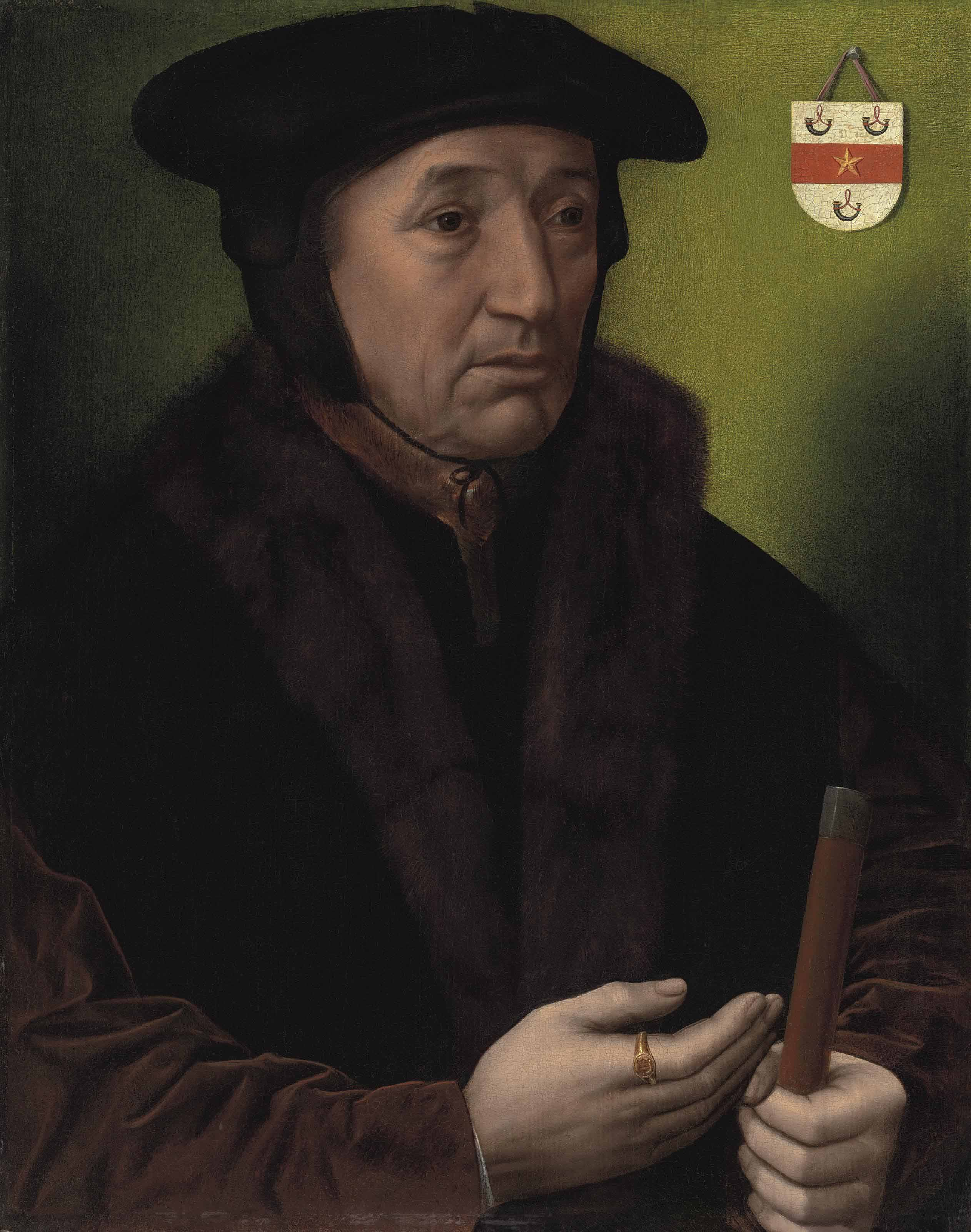 Portrait of Jean Wyts, Watergraaf of Mechelen (d. 1533), half-length, in a cap and fur-trimmed jacket, holding a rod of office in his left hand