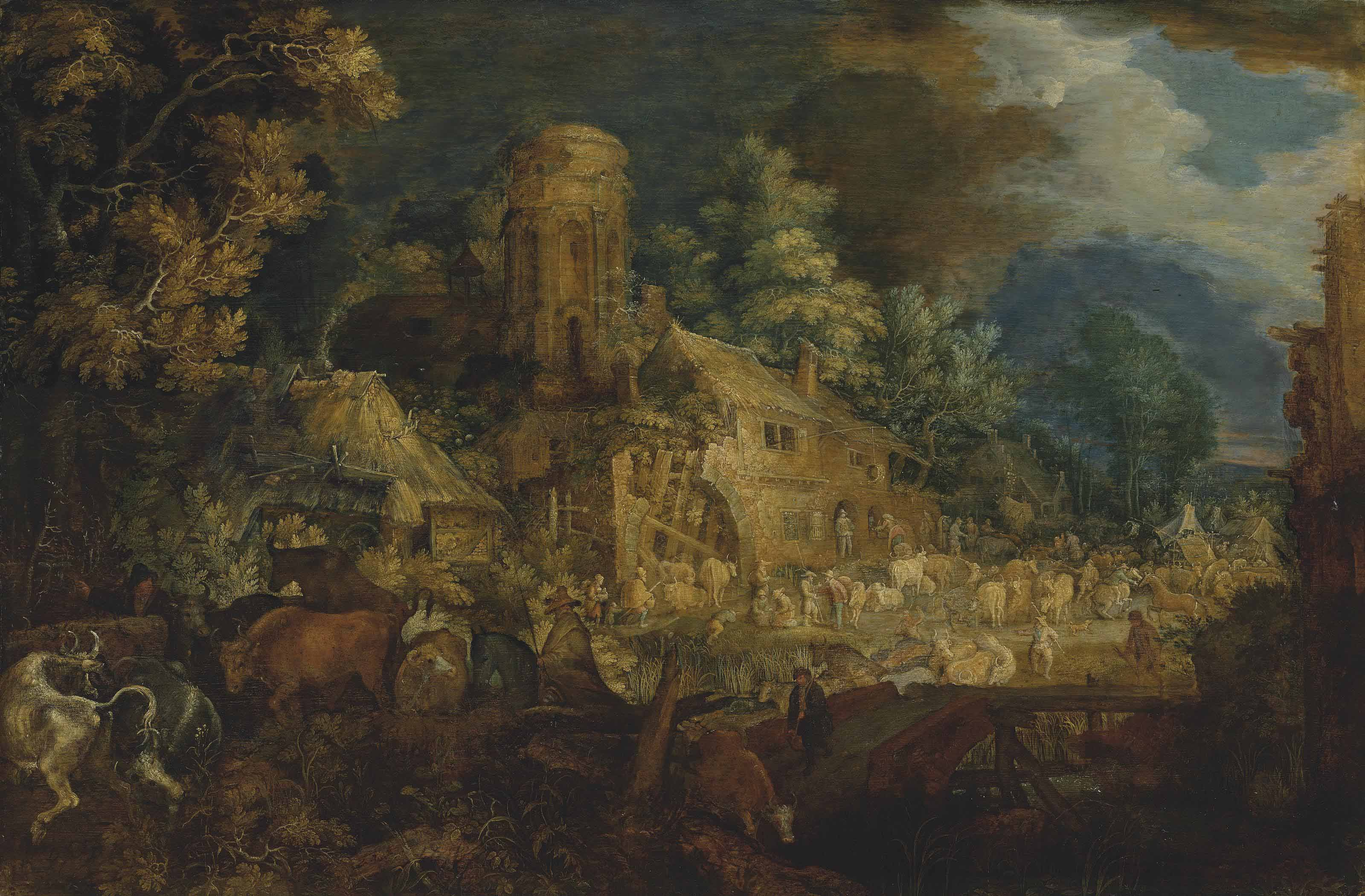 A cattle market near a ruined farmstead in a village by a river