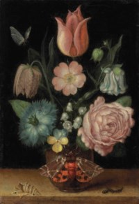 A tulip, a Snakeshead, a Love-in-a-mist, a double variegated columbine, a Dog Rose, a Maiden's Blush Rose, lilies of the valley and a pansy in a pot with a garden tiger moth, a shell, and a caterpillar on a ledge, a butterfly above