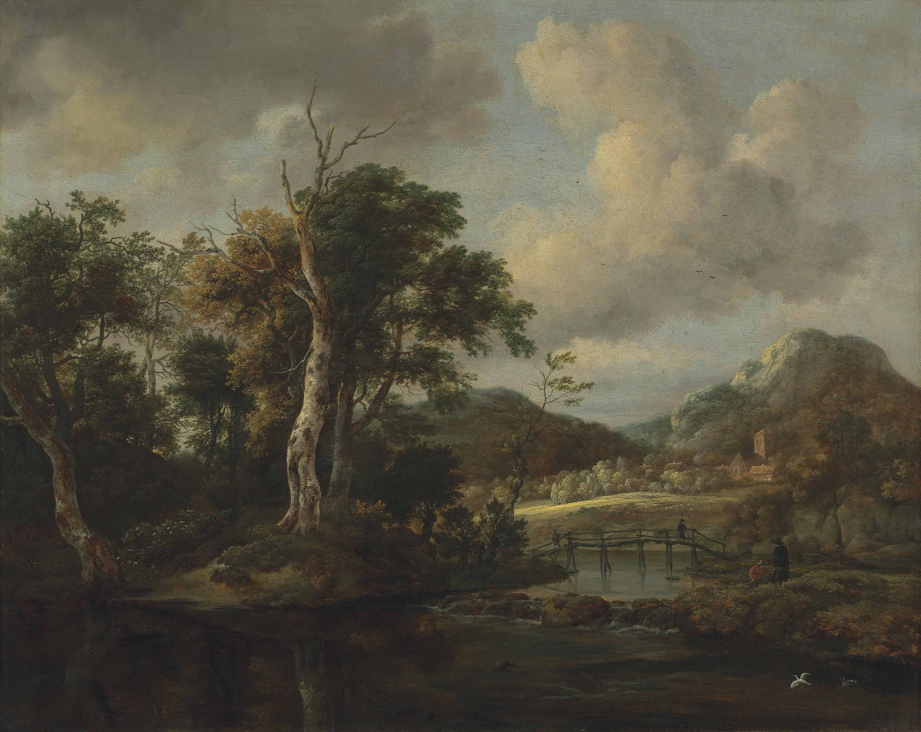 A wooded river landscape with figures crossing a bridge