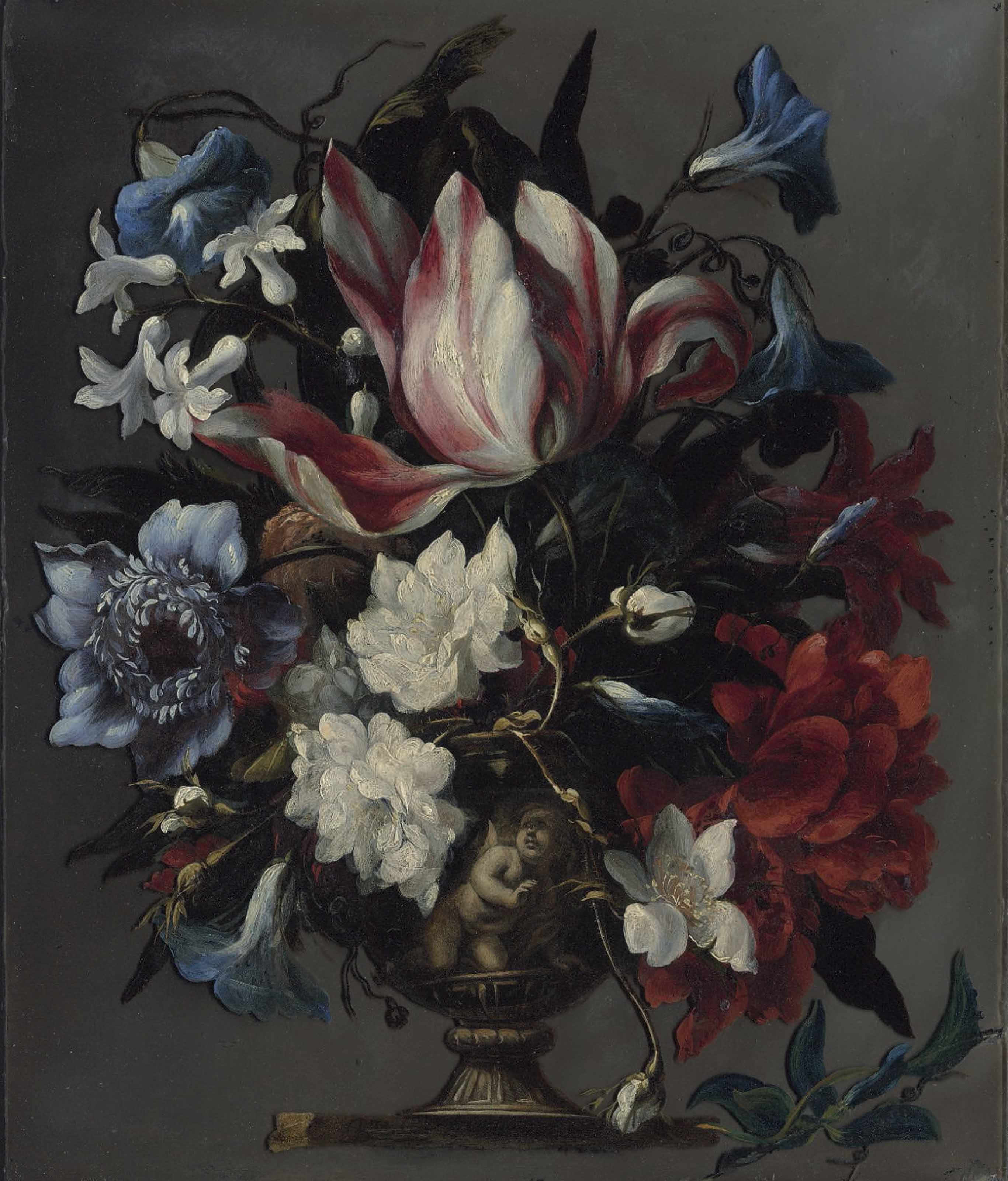 A parrot tulip, an African marigold, morning glory, hyacinths and other flowers in a sculpted urn, on a ledge