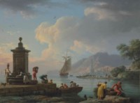 A Mediterranean seaport with figures unloading cargo, two women fetching water from a fountain, a lighthouse beyond