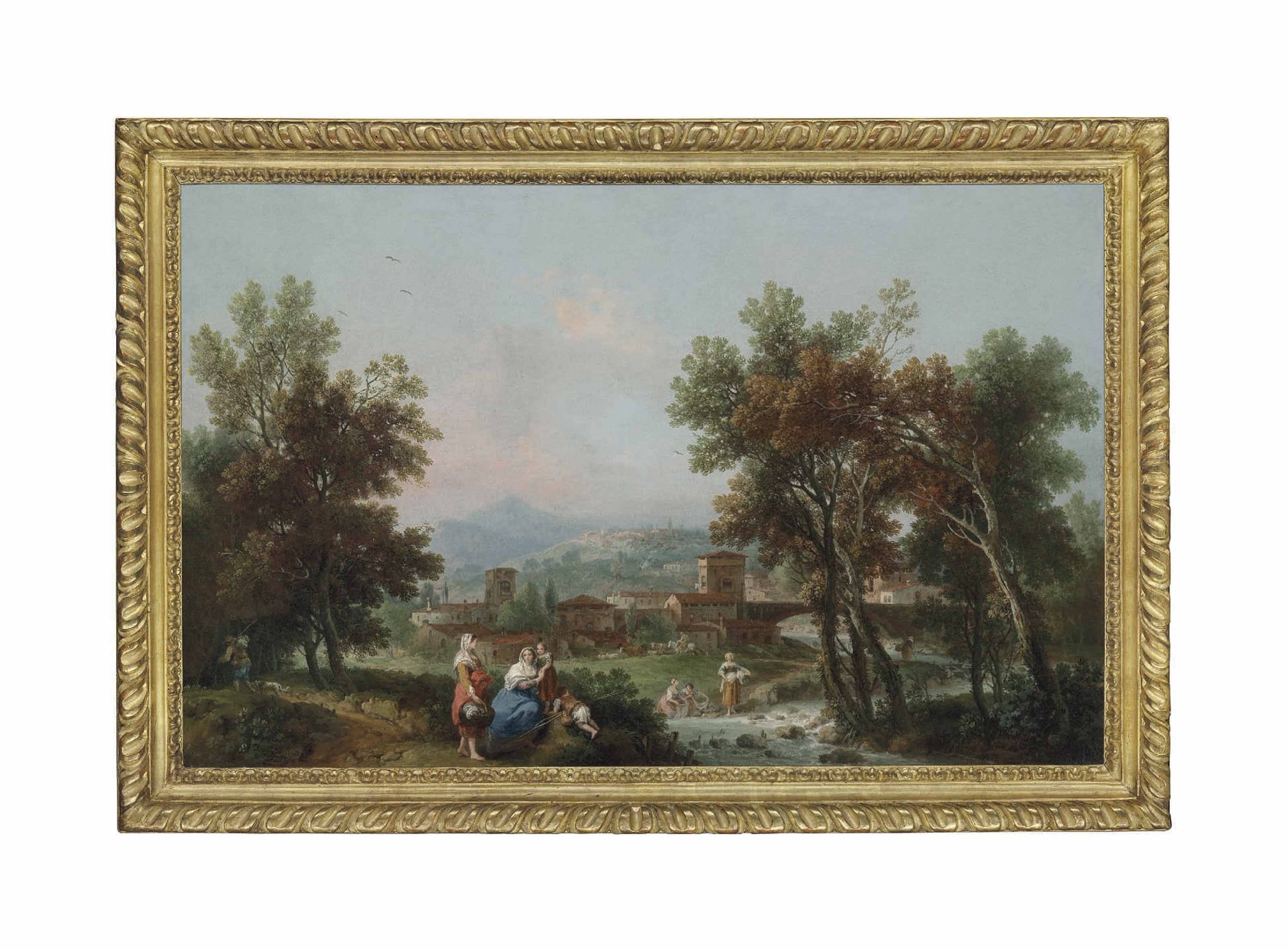 A wooded landscape with washerwomen by a river, a pedlar on a path nearby, a town and hills beyond