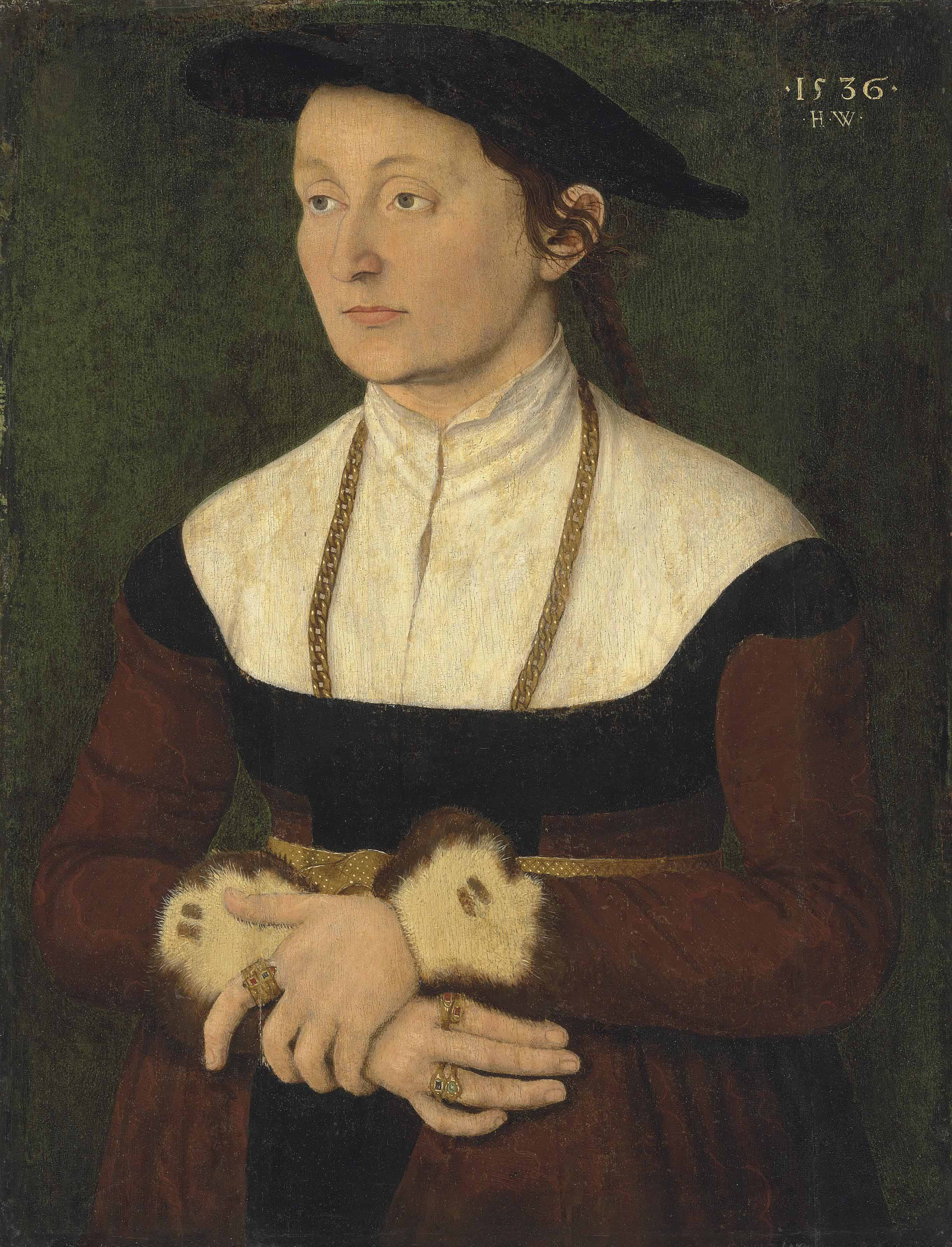 Portrait of a lady, half-length, in a red dress with fur cuffs, a hat and a gold chain