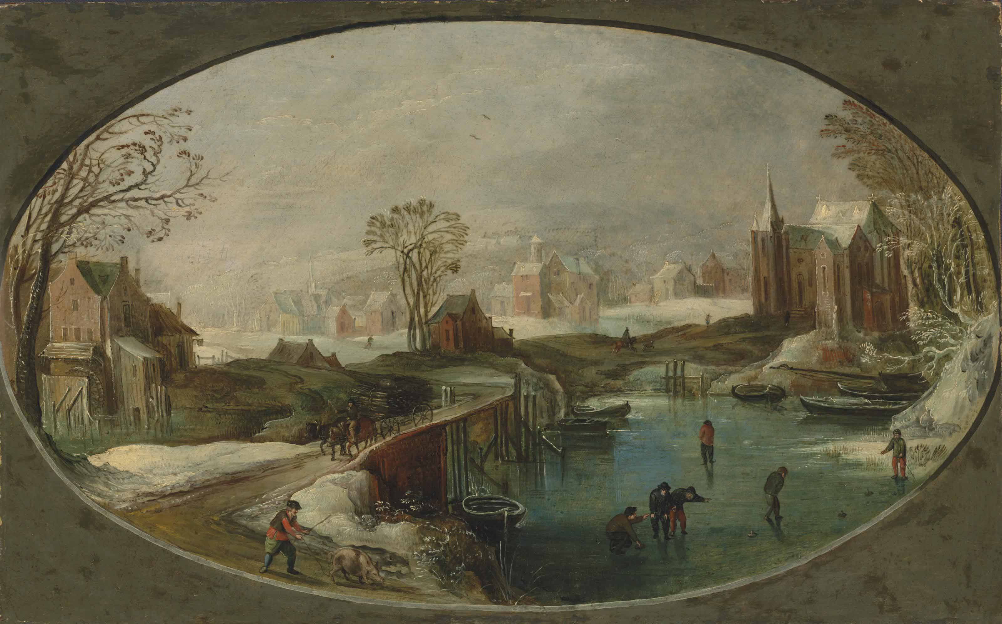 A winter landscape with figures playing games on a frozen river, a faggot-gatherer and a herdsman on a path, a village beyond