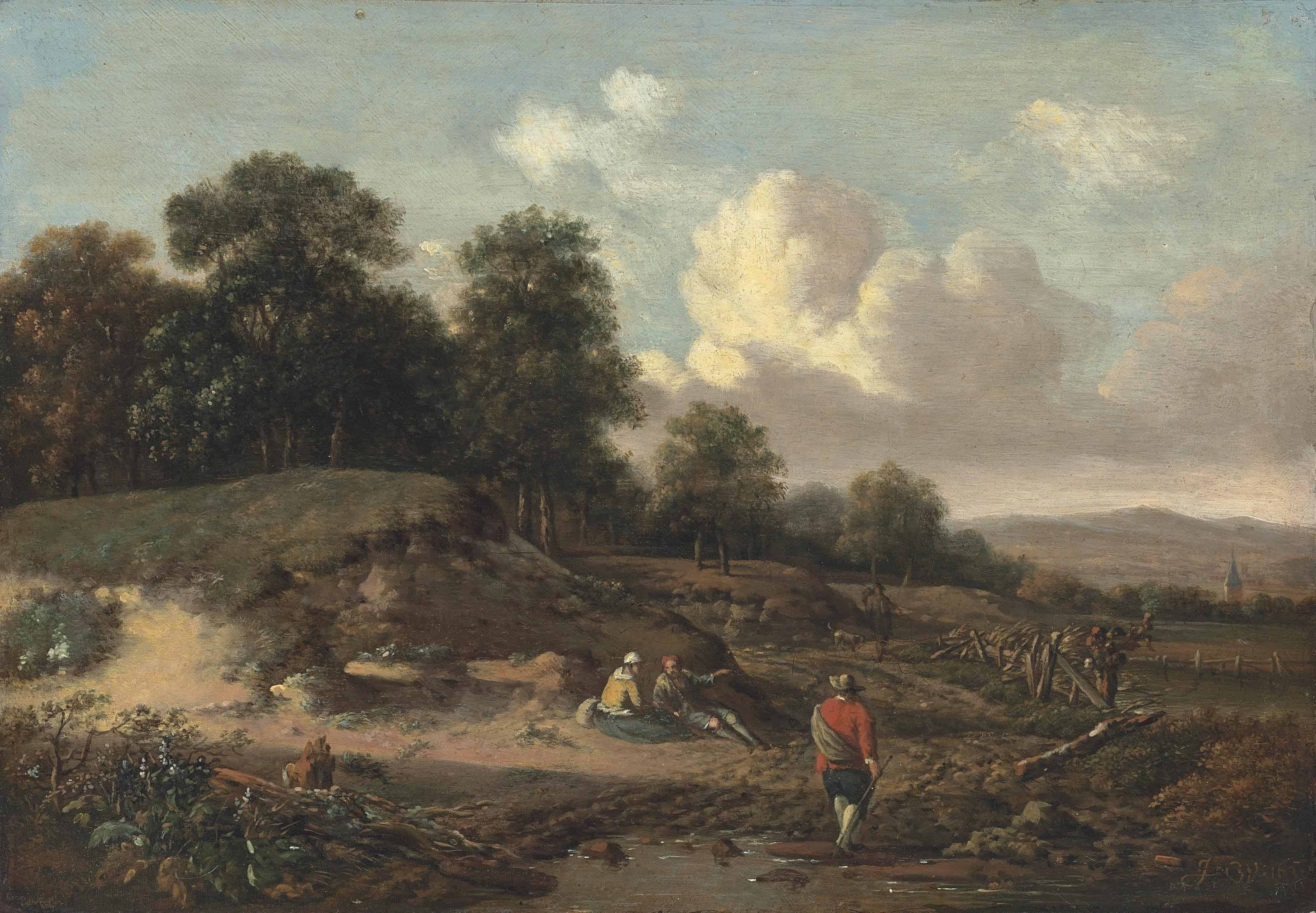 A wooded river landscape with figures resting by a sandbank, a traveller and a dog on a path, a church beyond