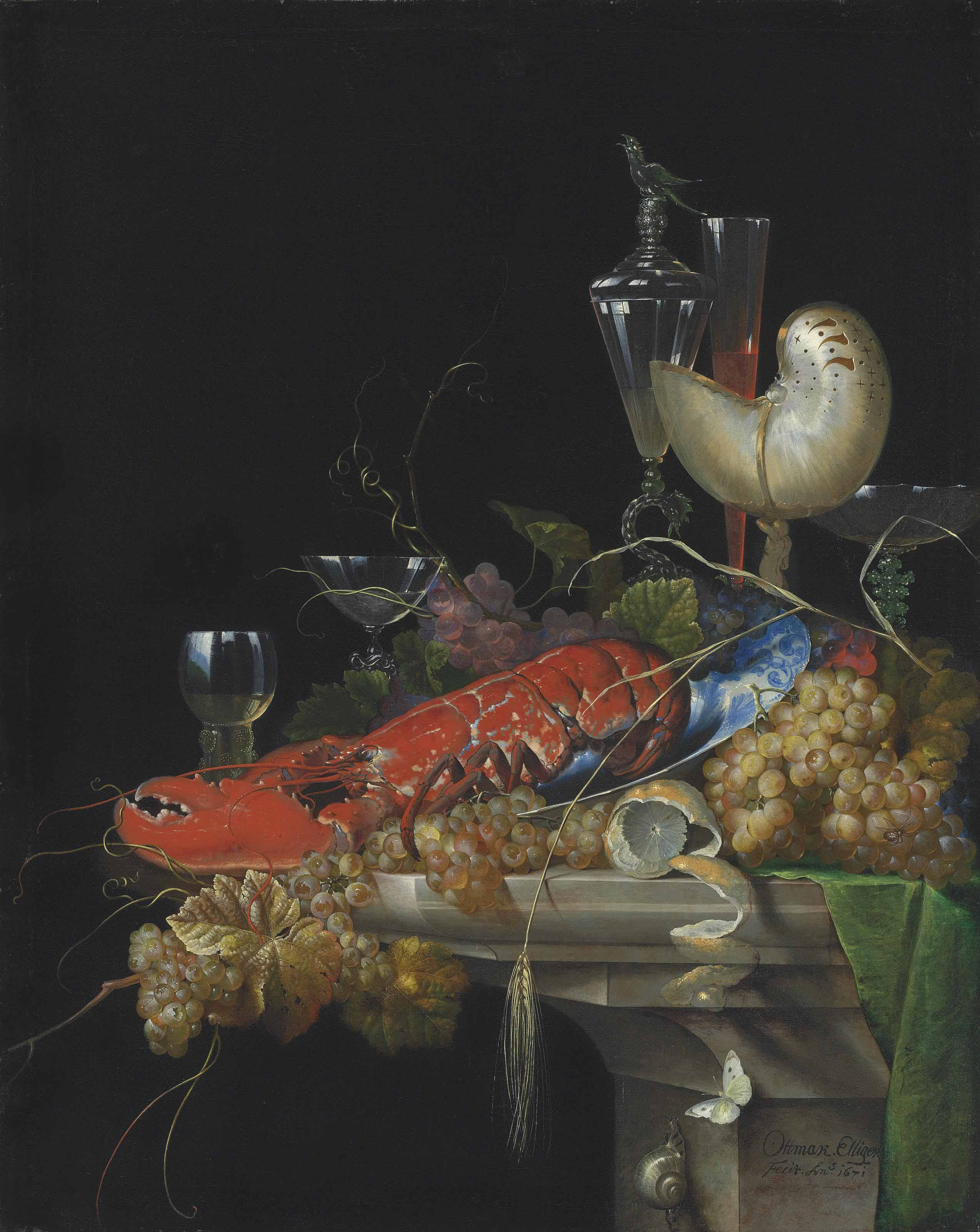 A lobster on a white porcelain platter with grapes and a partly-peeled lemon, a nautilus cup, a roemer and façon-de-Venise wineglasses, on a stone ledge, with a snail and a butterfly