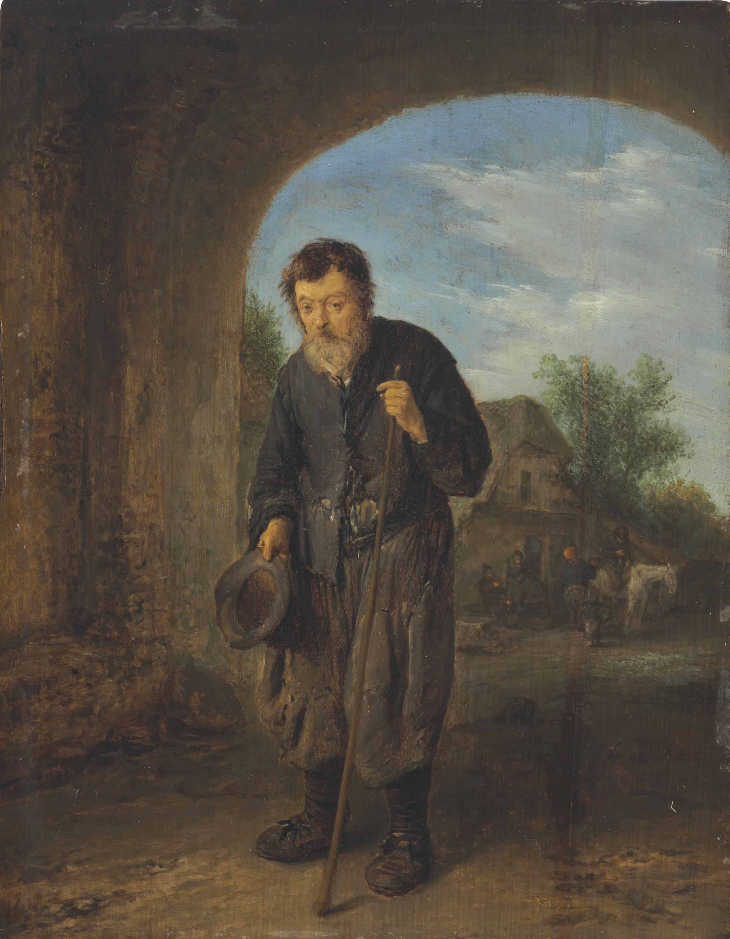 A mendicant with a walking stick under an archway, travellers by an inn beyond