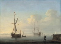 A coastal landscape with a Dutch Galjoot at anchor and a man-of-war in a calm