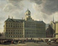 A view of the Dam with the new Town Hall, the Nieuwe Kerk and the Waag, Amsterdam