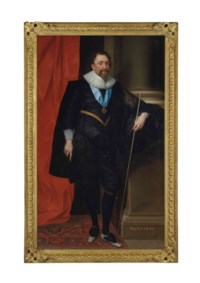 William Herbert, 3rd Earl of Pembroke (1580-1630), full-length, in a black doublet and hose, holding the Lord Stewart's staff of office