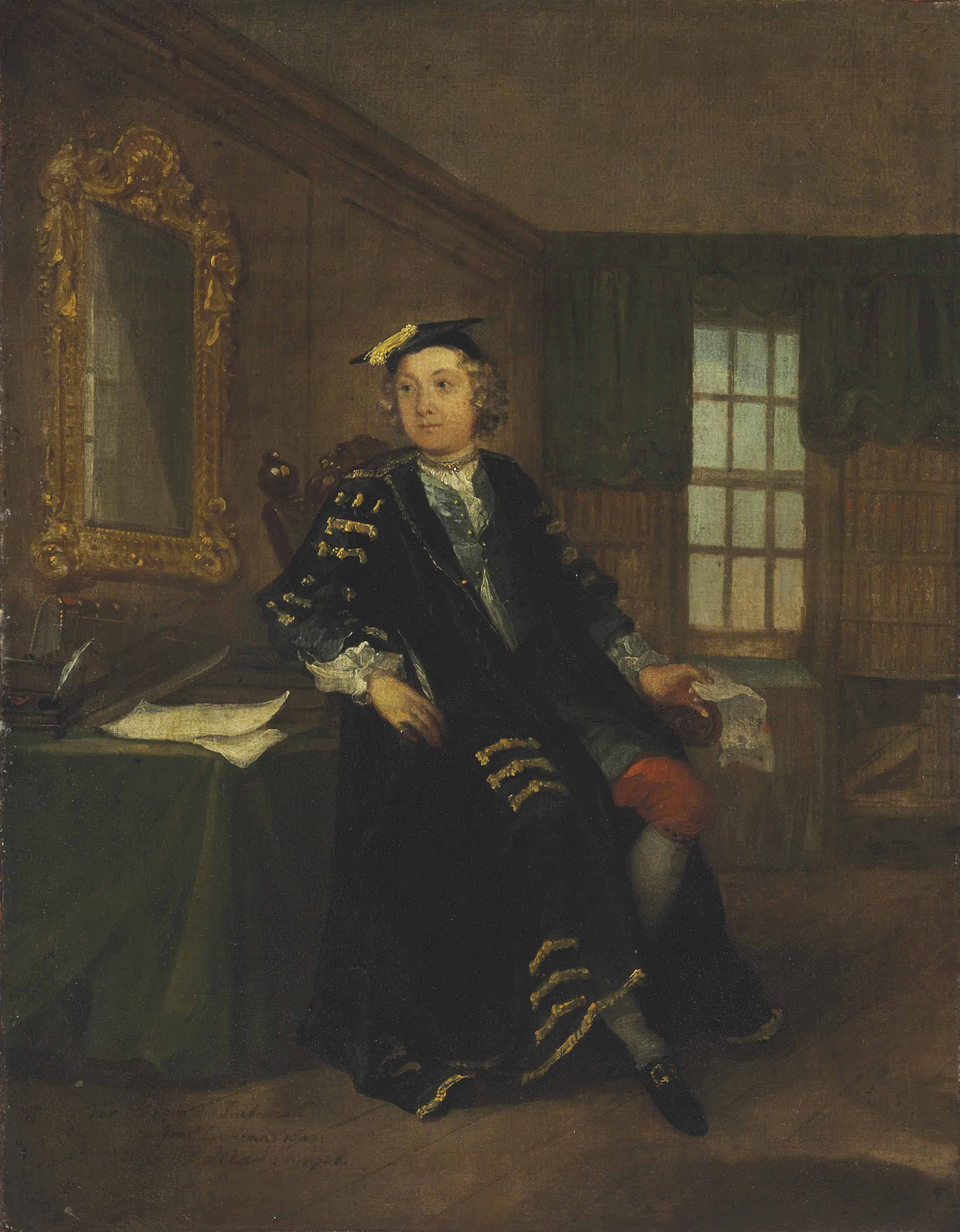Portrait of Thomas Western (1714-1766), small full-length, in his study at Clare Hall, Cambridge
