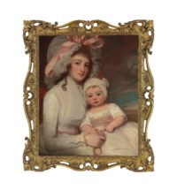 Portrait of Mrs Agnes Ainslie (1761-1796) and her son Henry (1786-1814), three-quarter-length, she in a white dress and mob-cap tied with a pink ribbon, holding a fob watch, the child in a white dress with a pink sash and white cap