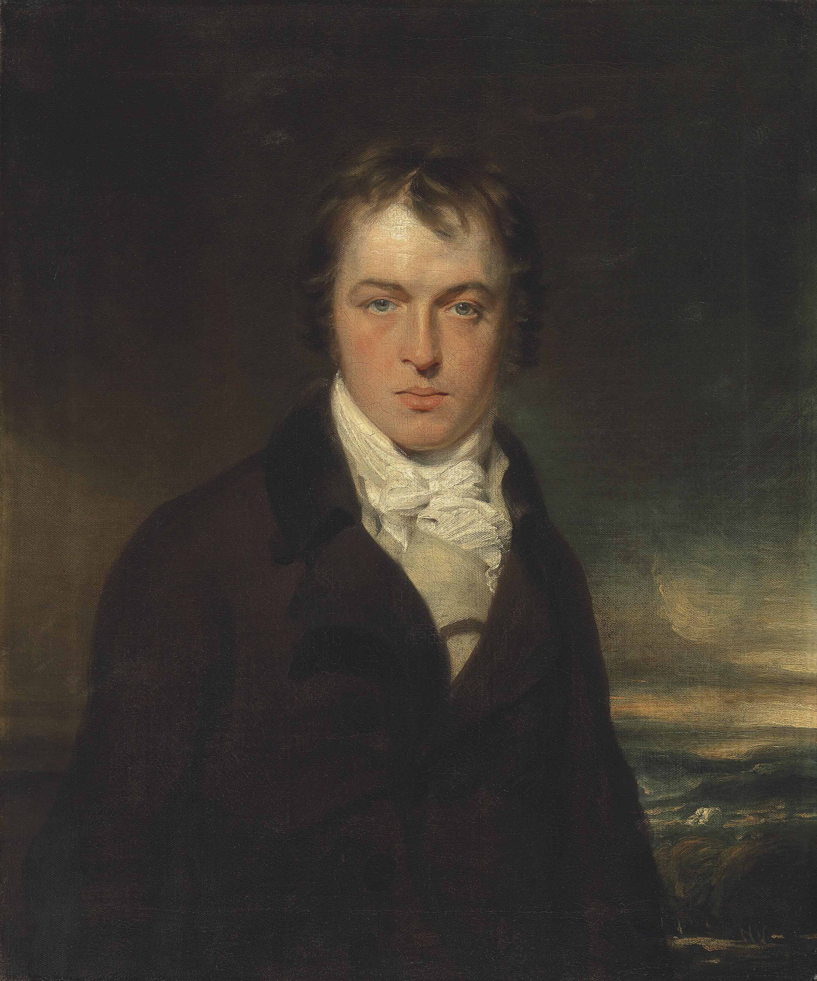 Portrait of a gentleman, half-length, in a dark coat and cream waistcoat, in a landscape