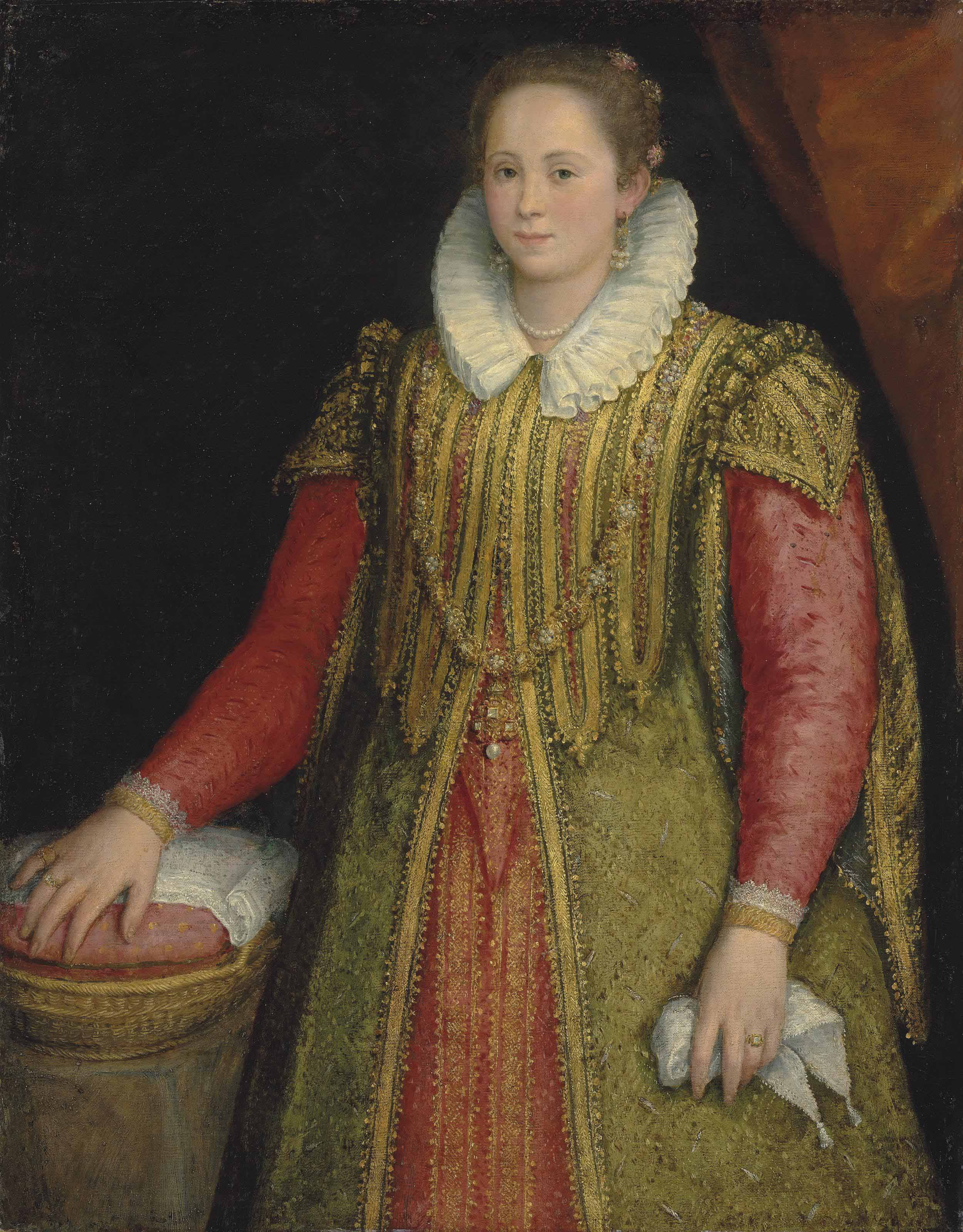 Portrait of a lady, three-quarter-length, in a red, gold and green dress, her right hand resting on a basket
