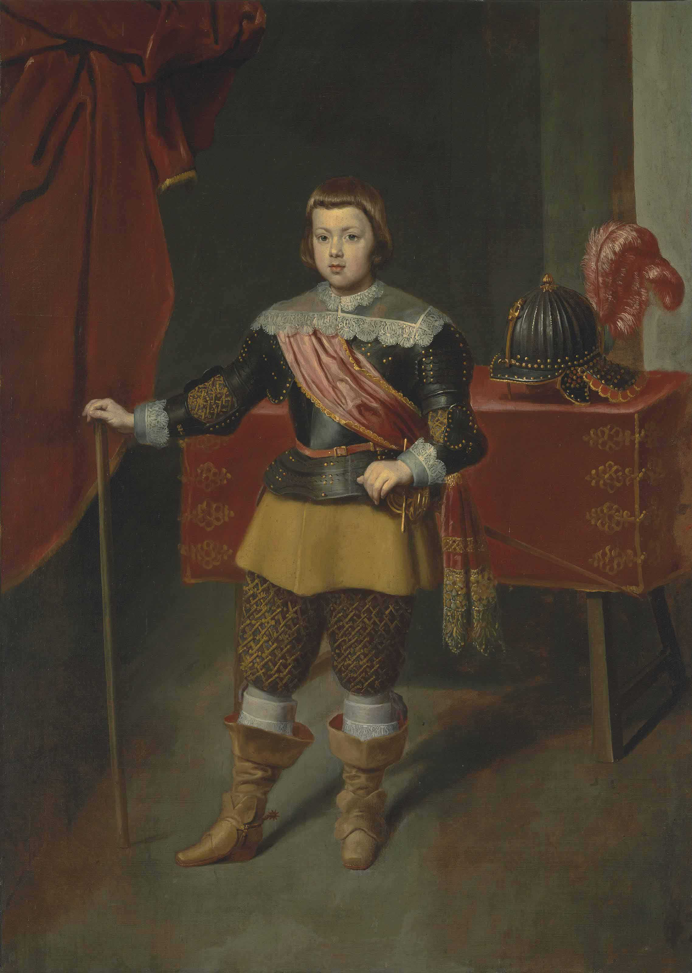 Portrait of the Infante Baltasar Carlos (1629-1646), son of King Philip IV of Spain and his wife Isabella of Bourbon, full-length, in armour with a red sash