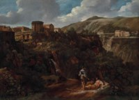 The cascade at Tivoli, with two washerwomen resting by a path