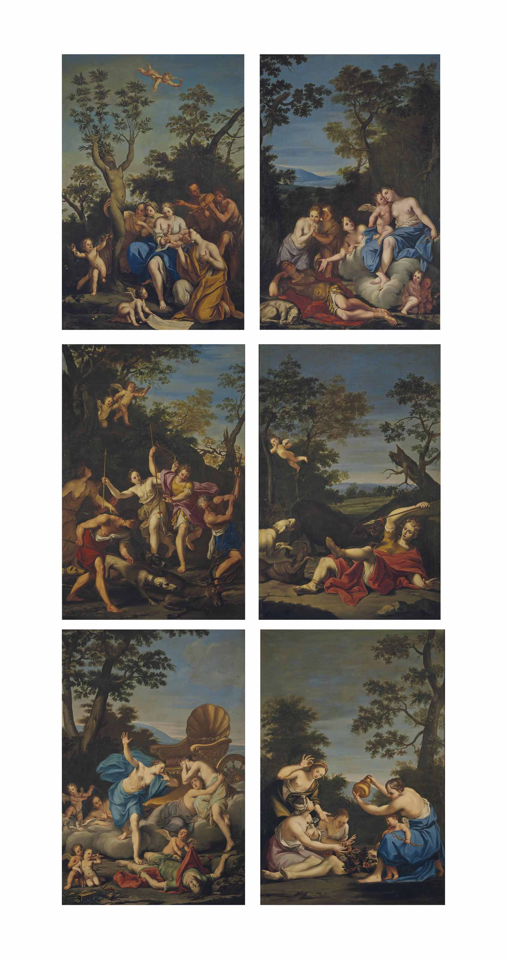 The Birth of Adonis; Venus enamoured of Adonis; Venus and Adonis hunting; Venus discovers the body of Adonis; The Death of Adonis; and Ablutions over the body of Adonis
