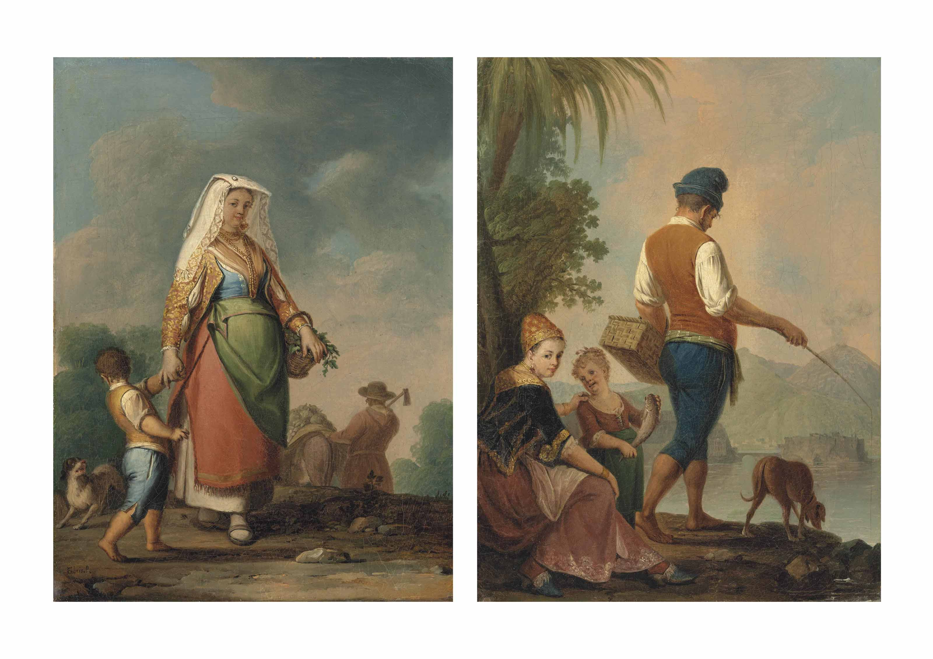 A mother and child in Neapolitan dress gathering vegetables, a farmer harvesting beyond; and A family in traditional Neapolitan dress fishing beside a river, a mountainous landscape beyond