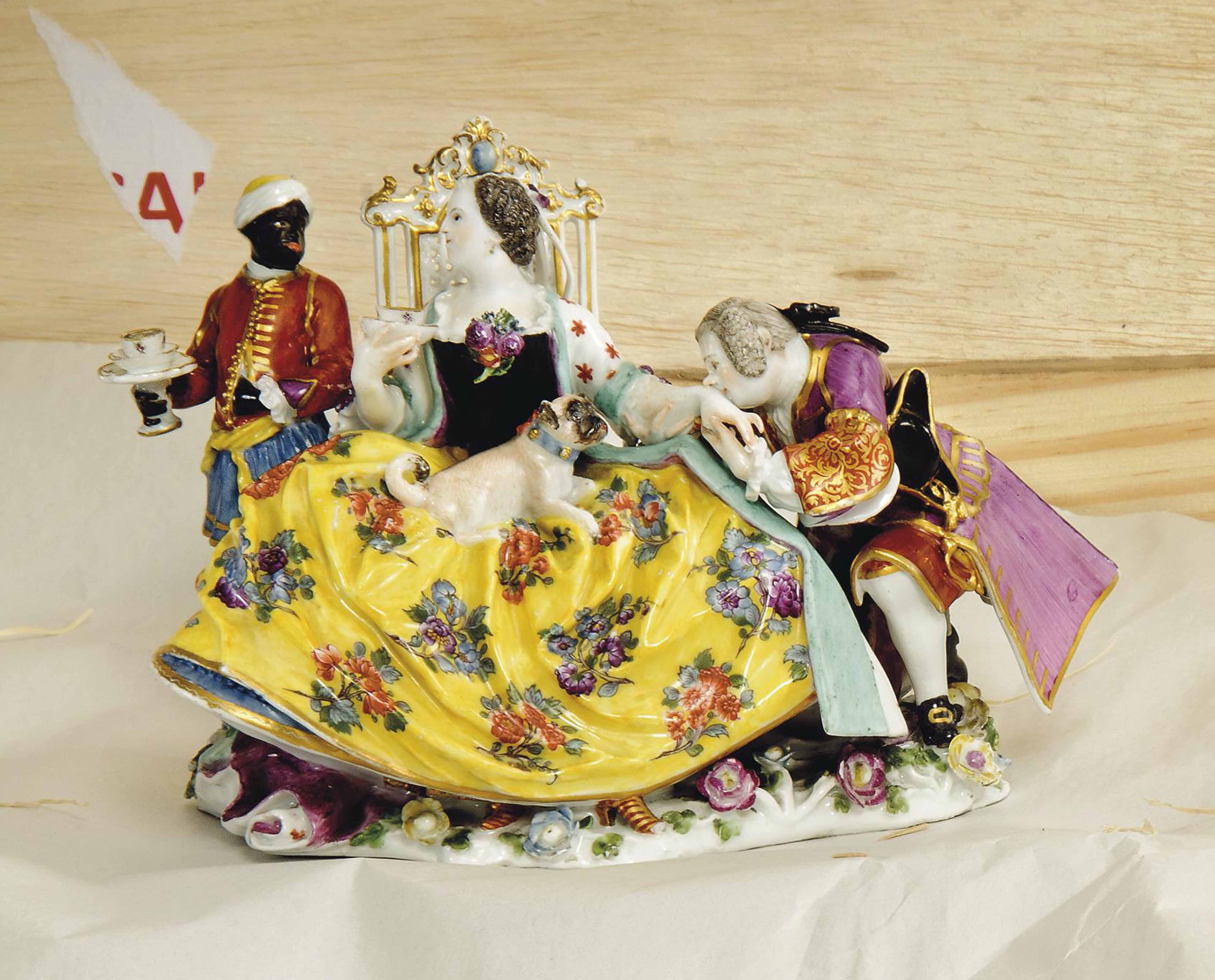A MEISSEN GROUP OF 'THE HAND KISS'