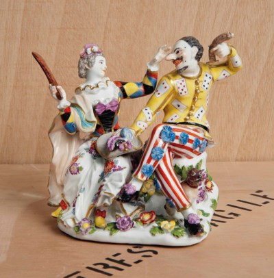 A MEISSEN GROUP OF HARLEQUIN A