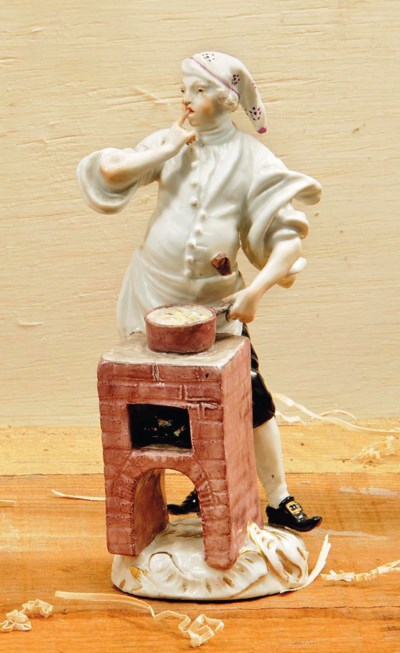 A MEISSEN FIGURE OF A COOK FRO