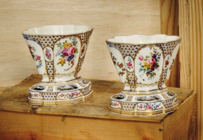 TWO SEVRES OVAL MOSAIQUE-GROUN