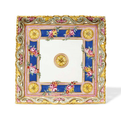A SEVRES PIERCED SQUARE TRAY (