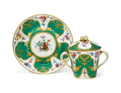 A SEVRES GREEN-GROUND TWO-HAND