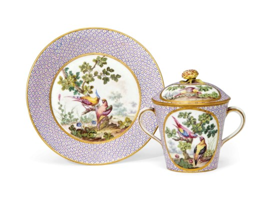 A SEVRES PINK-GROUND TWO-HANDL