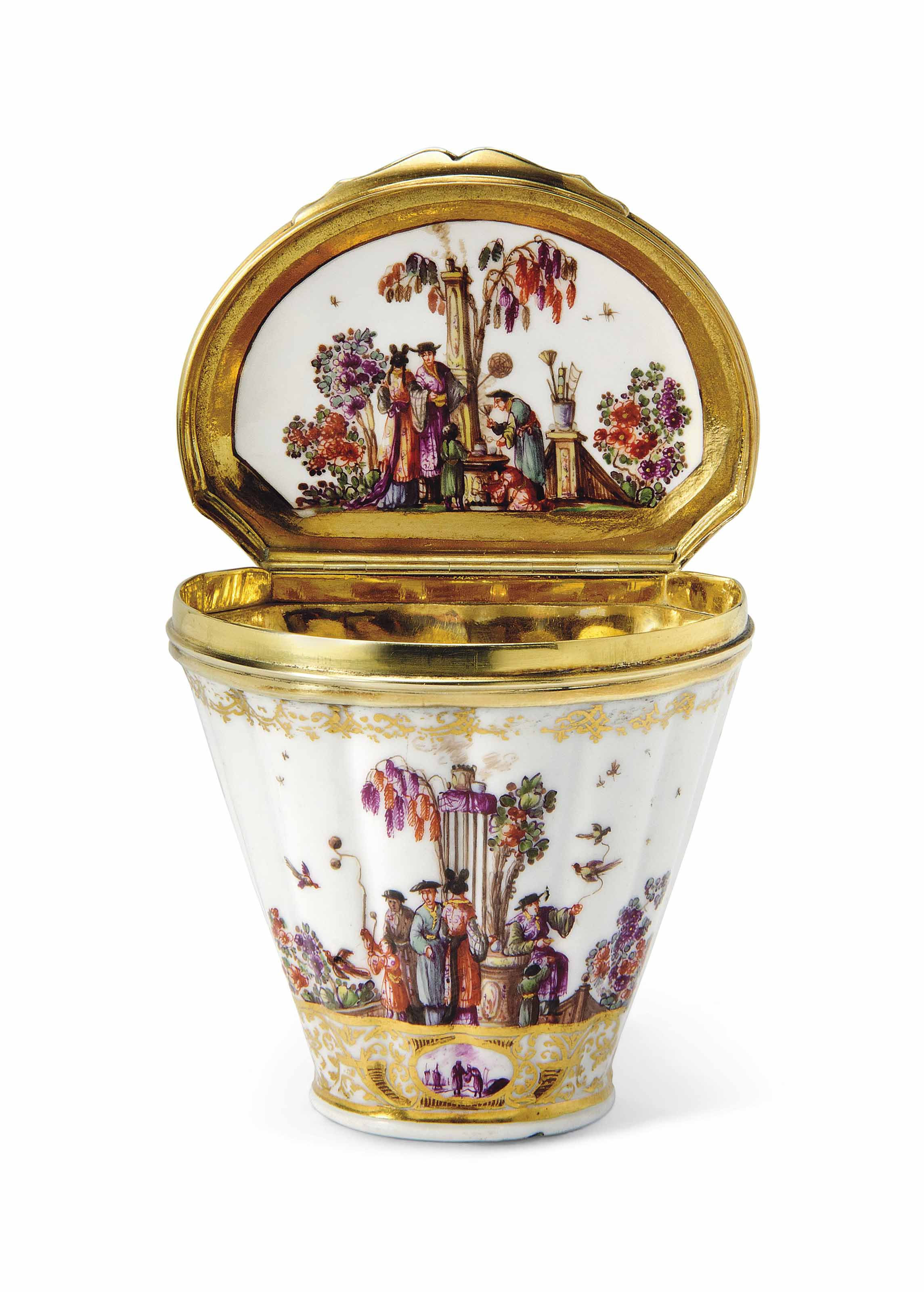 A MEISSEN SILVER-GILT-MOUNTED SNUFF-BOX